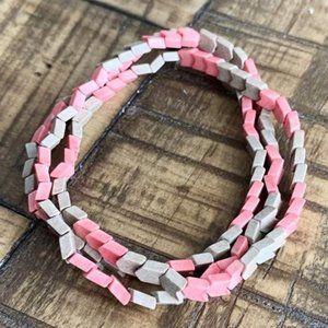 3pc Chevron Pink Agate Stretch Bracelet Set